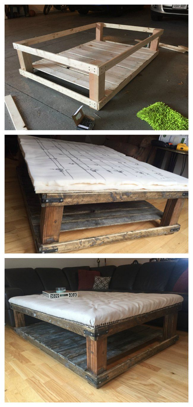 Diy Oversized Tufted Ottoman Coffee Table Upholstered Top Shelf Wood Rustic Modern Do It