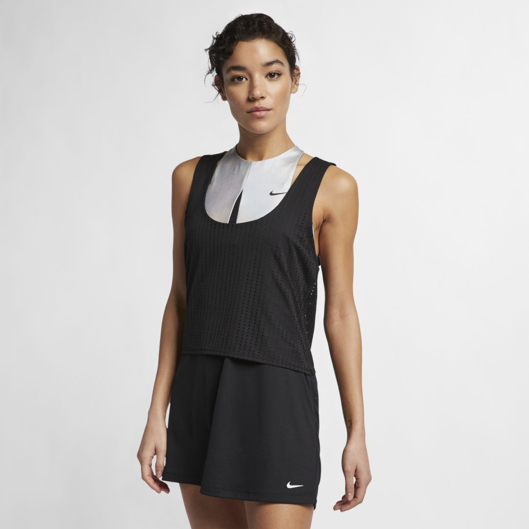 fb9277d9a1c Nike Sport Mesh Cover-Up Women's Reversible Layered Dress Size XL (Black)