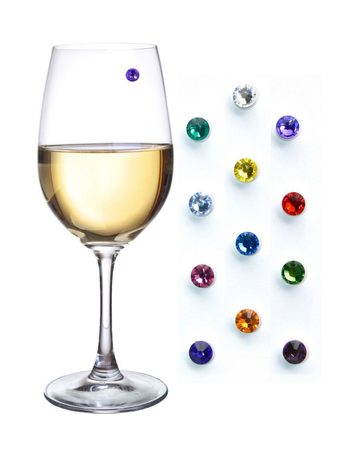 Swarovski Crystal Magnetic Wine Glass Charms Storage Box Included Wineglasstags Glassmarkers Artsy Tags Wine Glass Charms Glass Marker Wine Glass Tags