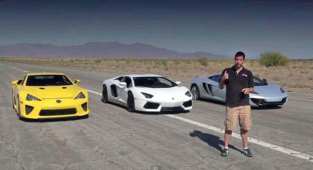 Bugatti Veyron vs Lamborghini Aventador vs Lexus LFA vs McLaren MP4