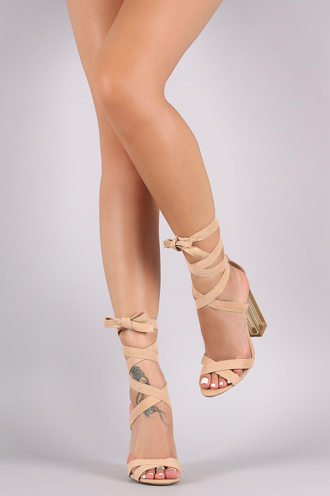 91189a7400c30a Suede Open Toe Lace Up Lucite Heel from Puckees. Saved to Heels ❤. Shop  more products from Puckees on Wanelo.