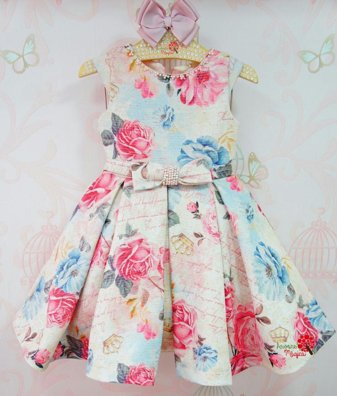 aba6a499c Árvore Mágica - Vestido de Festa Infantil Tweed Floral Petit Cherie ...