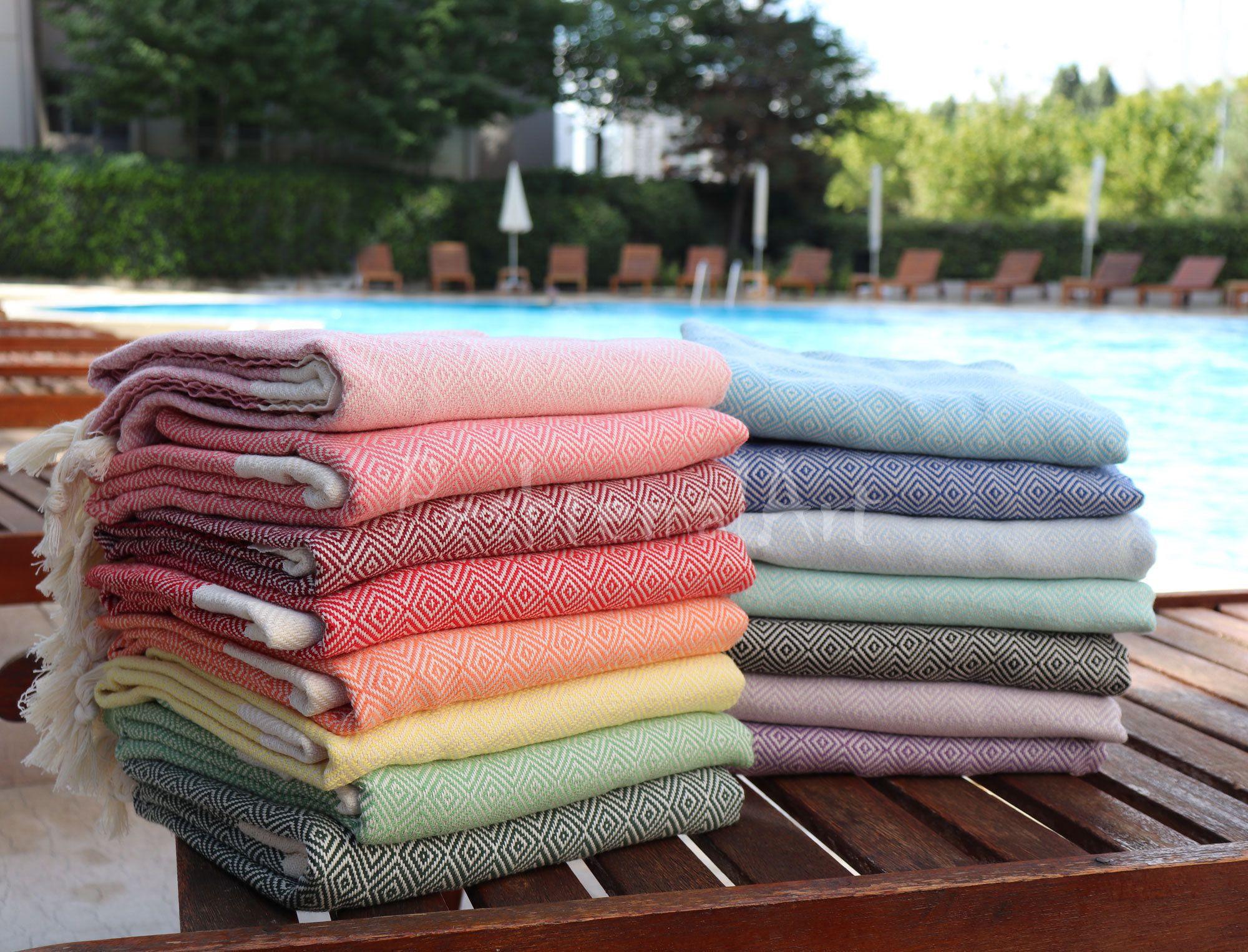 Set Of 4 Beach Towel Diamond Turkish Towel Peshtemal Pool Towel