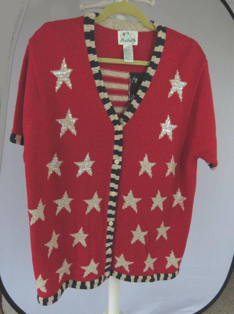 Quacker Factory Country Patriotic 4th of July Cardigan 1X #fashion