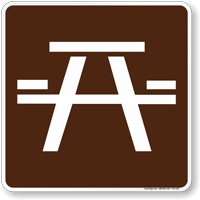 Picnic Area Symbol Sign For Campsite Sku K2 1122 Camping Signs Guide Sign Picnic Area