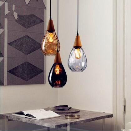 Iwhd Nordic Glass Ball Led Pendant Light Fixtures Dinning Living