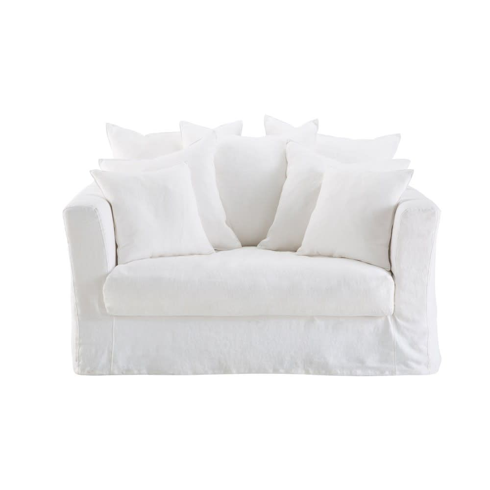 Ausziehbares 1 2 Sitzer Sofa Leinenbezug Weiss Bartholome Sillon Cama 1 Plaza Cama 1 Plaza Sofa De Lino