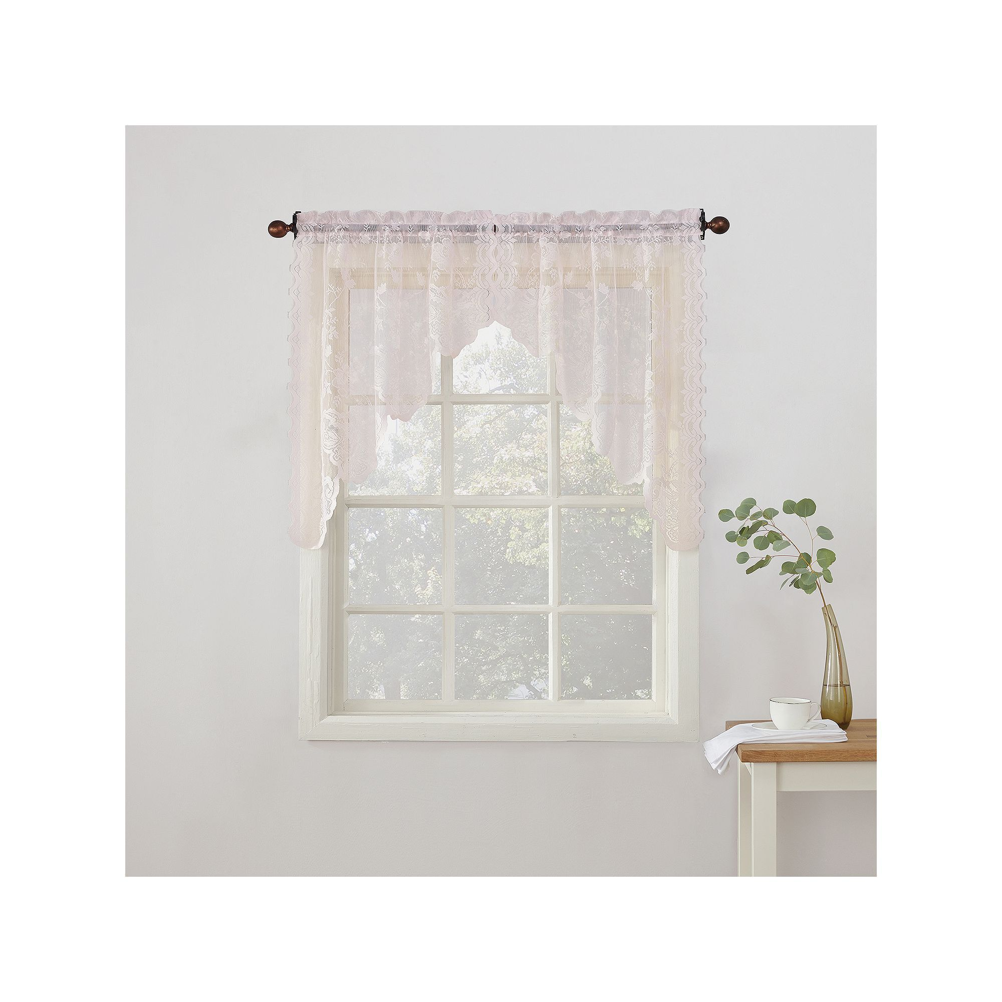 New window coverings 2018  no alison floral lace sheer kitchen curtain swag valance pair