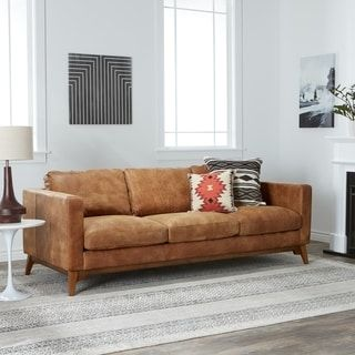 Filmore 89 Inch Tan Leather Sofa   Free Shipping Today   Overstock.com