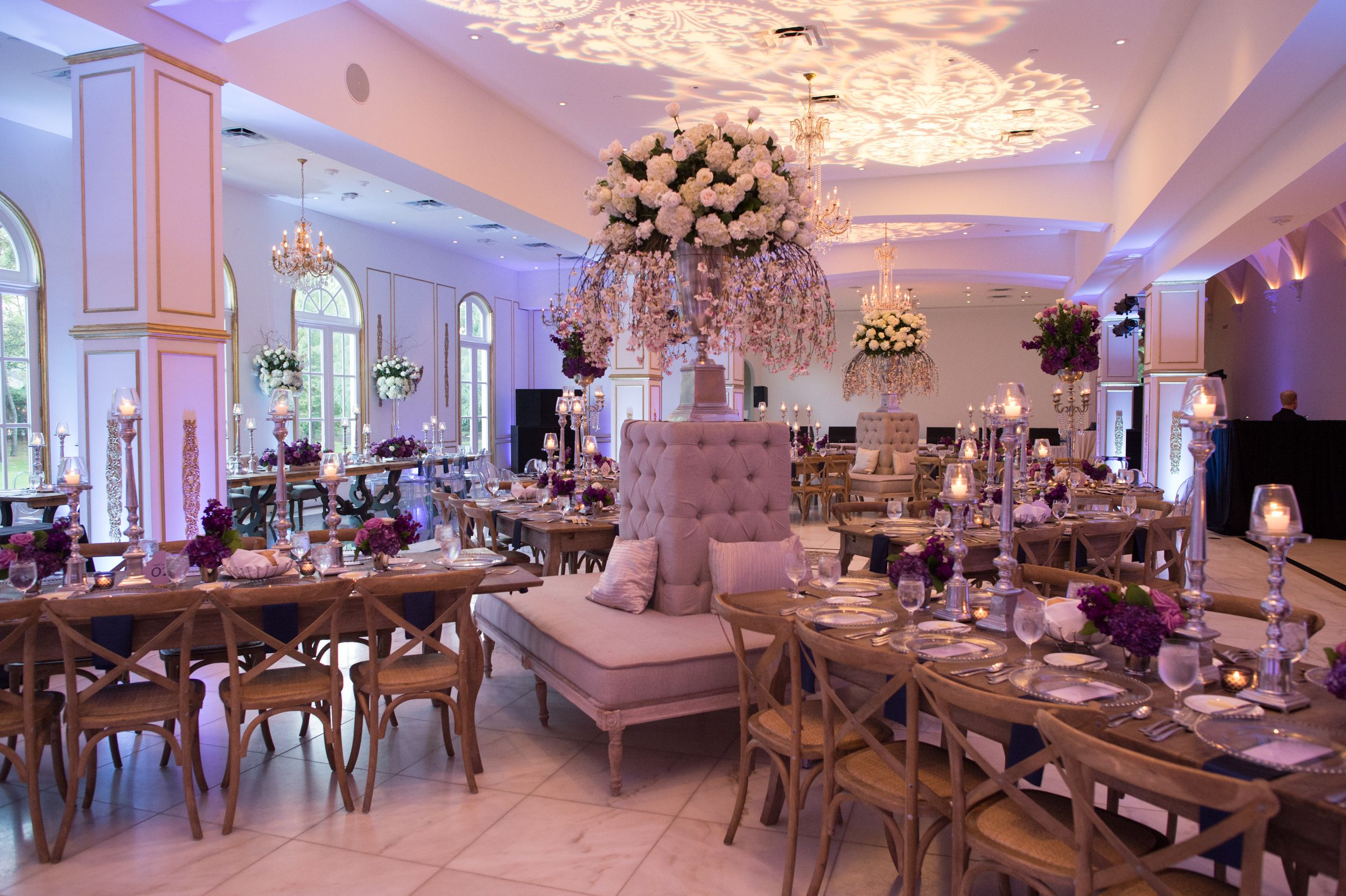 Ballroom transformation for this over the top rustic wedding