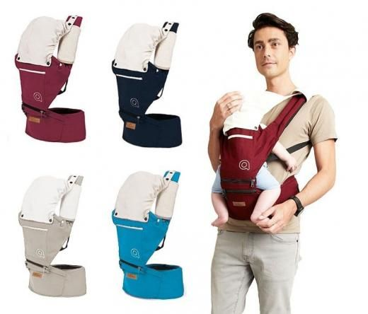 41cf0d415e9 Aiebao Baby Carrier Hip Seat With Hat Sling Cotton Waist Kid Infant  Backpack Detachable Seat Multi-carrying Positions Storage Bag Sun rain  Cover Fabric ...