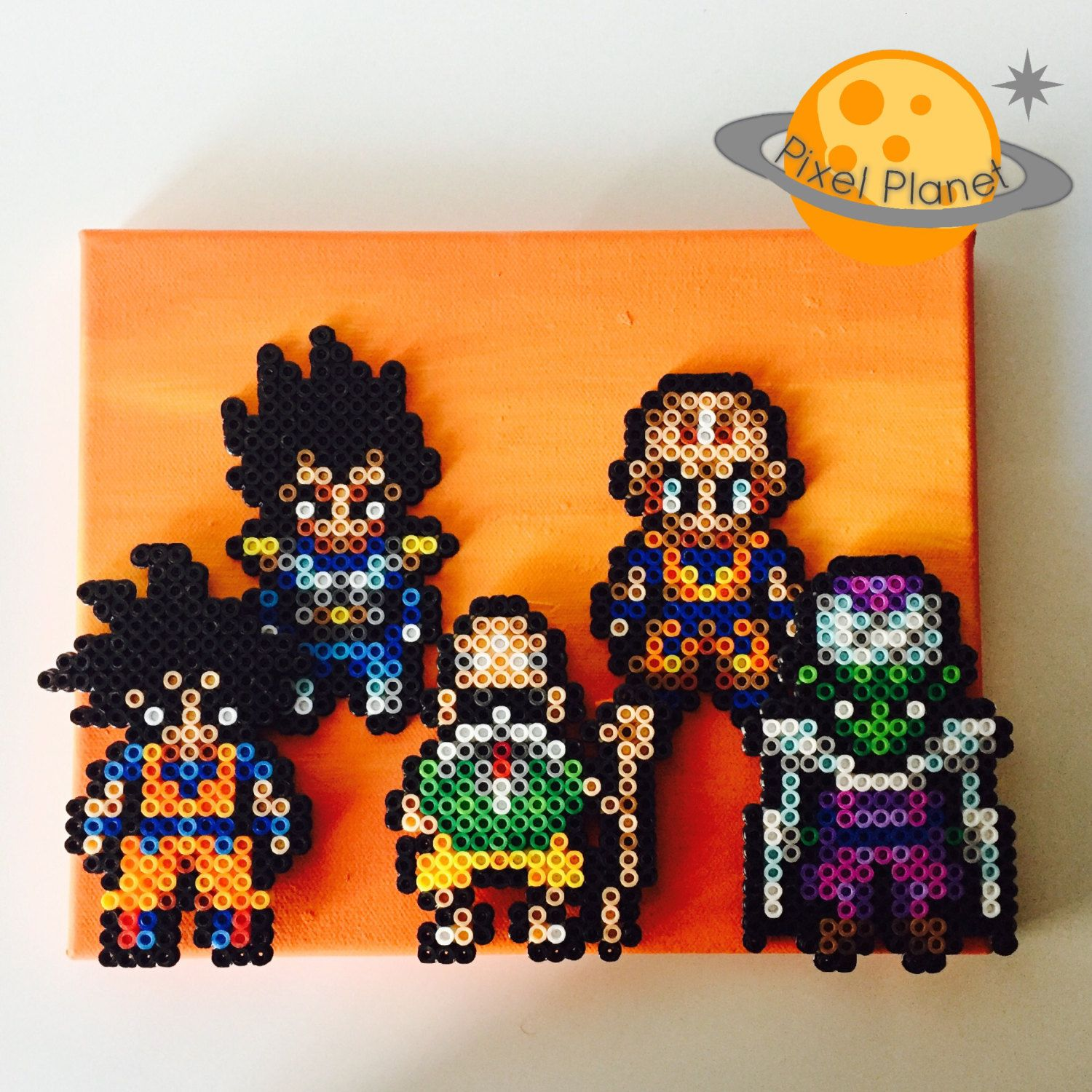 Dragonball Perler Beads Sprite On Canvas With Painted Background