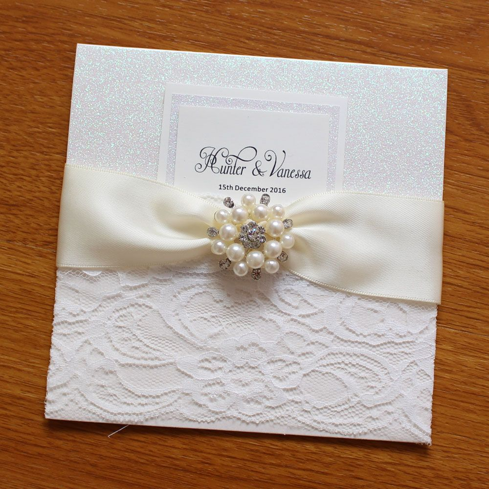 Luxury Glitter Wedding Invitation With Lace and Crystal Decorations ...