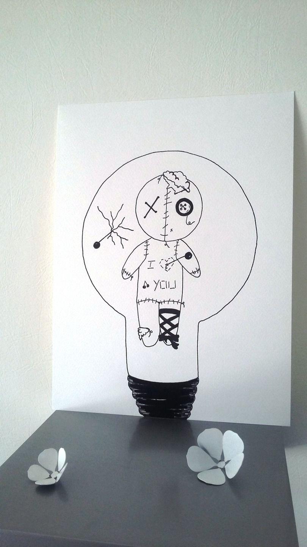 affiche illustration noir et blanc ampoule vaudou. Black Bedroom Furniture Sets. Home Design Ideas