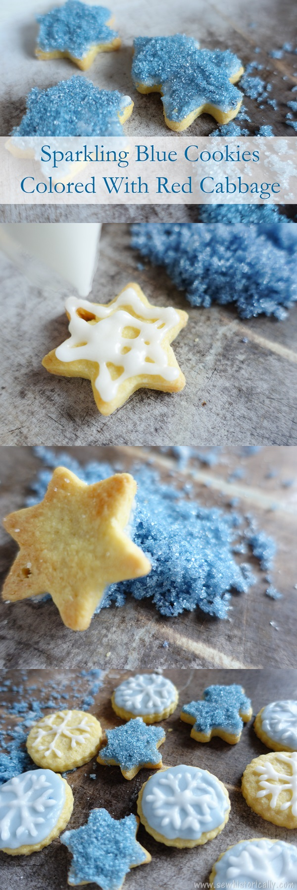 Sparkling Blue Cookies Colored With Red Cabbage