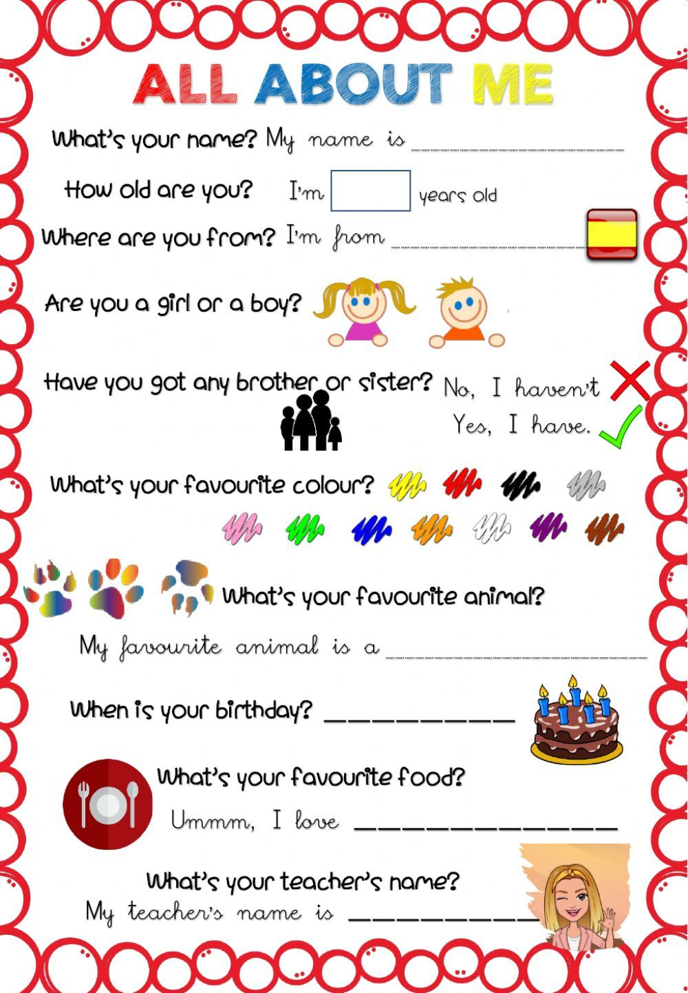 All about me activity for Primer y Segundo Ciclo de Primaria