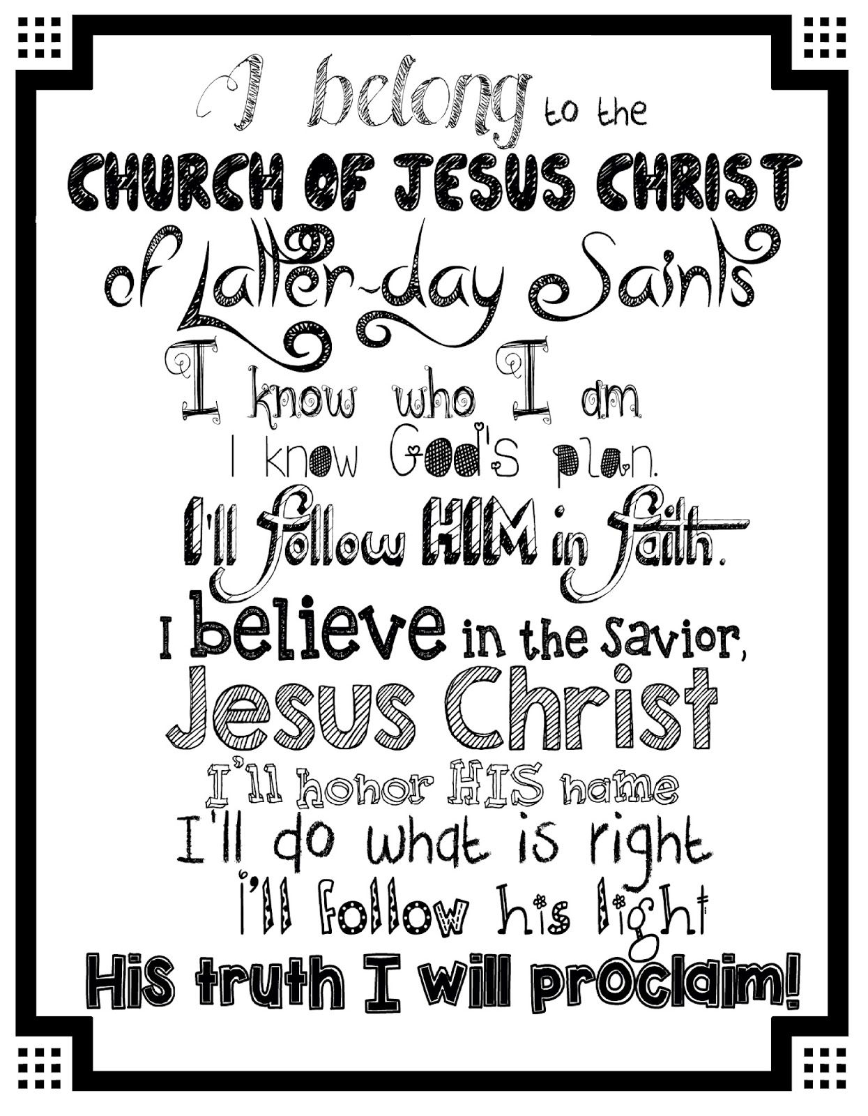 I Belong To The Church Of Jesus Christ Of Latter Day