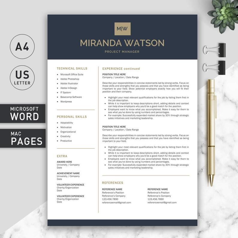 Professional Resume Template Resume Template for Word
