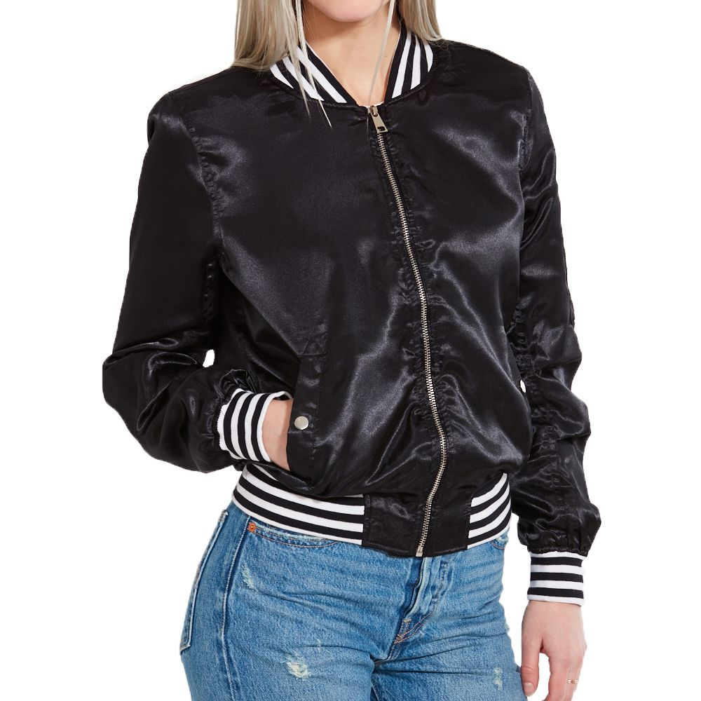 Amp Lt P Amp Gt Black Amp Nbsp Bomber Jacket With Trendy Black And White Stripes On The Cuffs Of The Sleeves And The Bomber Jacket Jackets White Bomber Jacket [ 1000 x 1000 Pixel ]