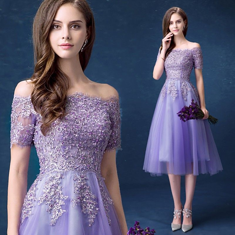 Cute Short Sleeves Appliques Homecoming Dress Tea-Length Short ...