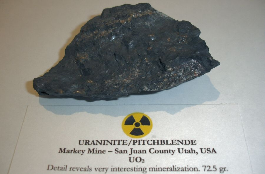 Pitchblende Uraninite Uranium Oxide Mineral Ore With My