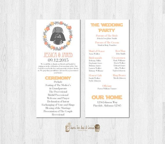 Star Wars Wedding Program Darth Vader Printable Download SciFi