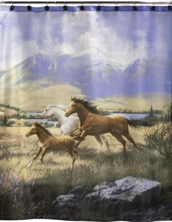 Running Free Horses Shower Curtain & Bath Set Combo