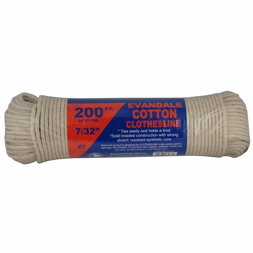 T W Evans Cordage 7 32 In X 200 Ft Evandale Cotton Clothesline