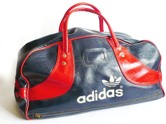 Vintage Retro 70s Blue Red Vinyl Adidas Gym Bag By