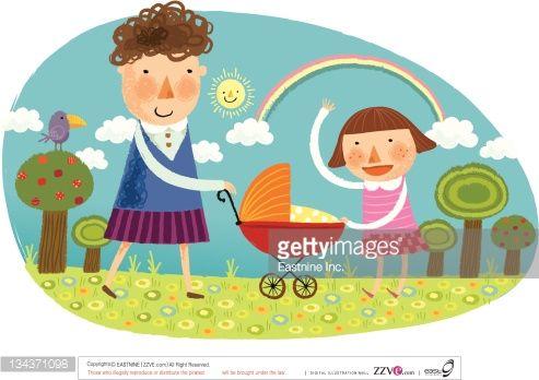 girl with baby carriage illustration - Поиск в Google