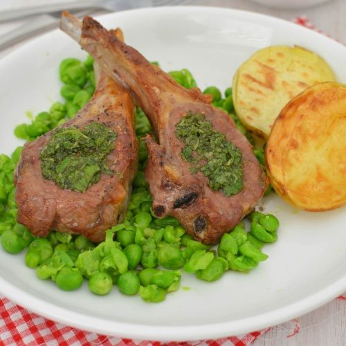 Minted Lamb Cutlets :: Season the lamb with a little sea salt and pepper. Place them on a lined baking tray and place them under the grill and cook for around 10 minutes, or until they are cooked to your liking.  Meanwhile, bring a saucepan of water to the boil. Slice the potatoes in half and place them into the boiling water. // Full recipe @ http://naturalfertilitybreakthrough.com/food-nutrition/meal-plans-recipes/minted-lamb-cutlets/