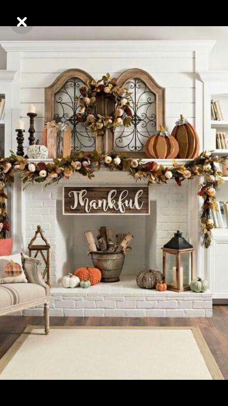 TheTypzeeGypzee Fall Fireplace Decor Mantles Decorating Ideas For