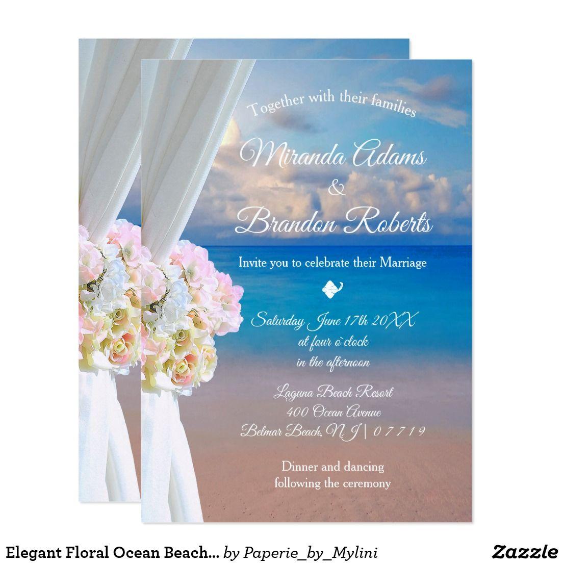 Elegant Floral Ocean Beach Summer Sunset Wedding