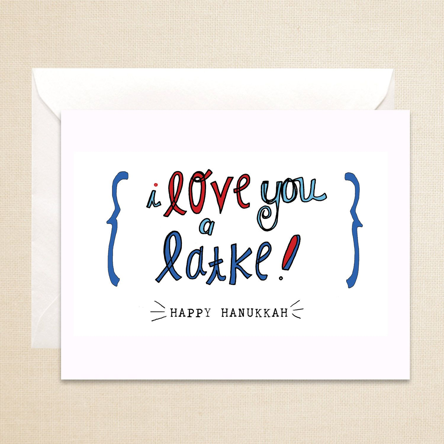 Hannukah Card Punny Card Humorous Red Blue Black Love You A