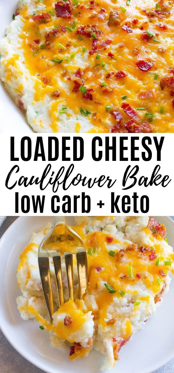 Loaded Cheesy Cauliflower Bake #cheesy #cauliflower #easyrecipes #keto #lowcarb #loadedcauliflowerbake