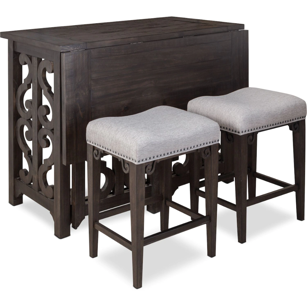 Charthouse Breakfast Bar And 2 Counter Height Backless Stools Backless Stools Reclining Furniture American Signature Furniture