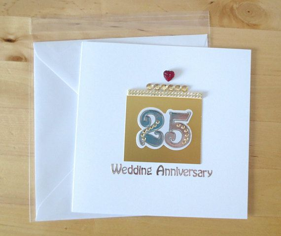 25th Wedding Anniversary Card Handmade Silver Parents Cards 25