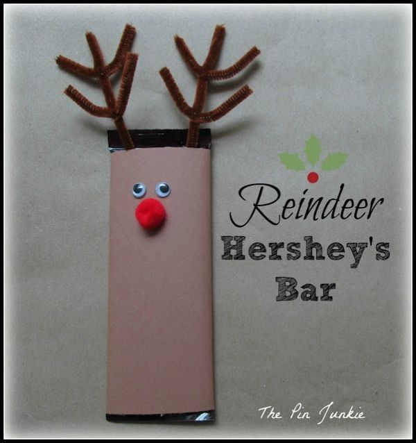 Make a reindeer from a Hershey's candy bar.  Easy and would make nice little gifts.  So cute! by marla