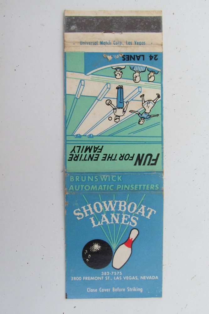 Showboat Lanes Bowling Las Vegas Nevada 20 Strike Vintage Sports Matchbook Cover Matchbook Bowling Sports Team