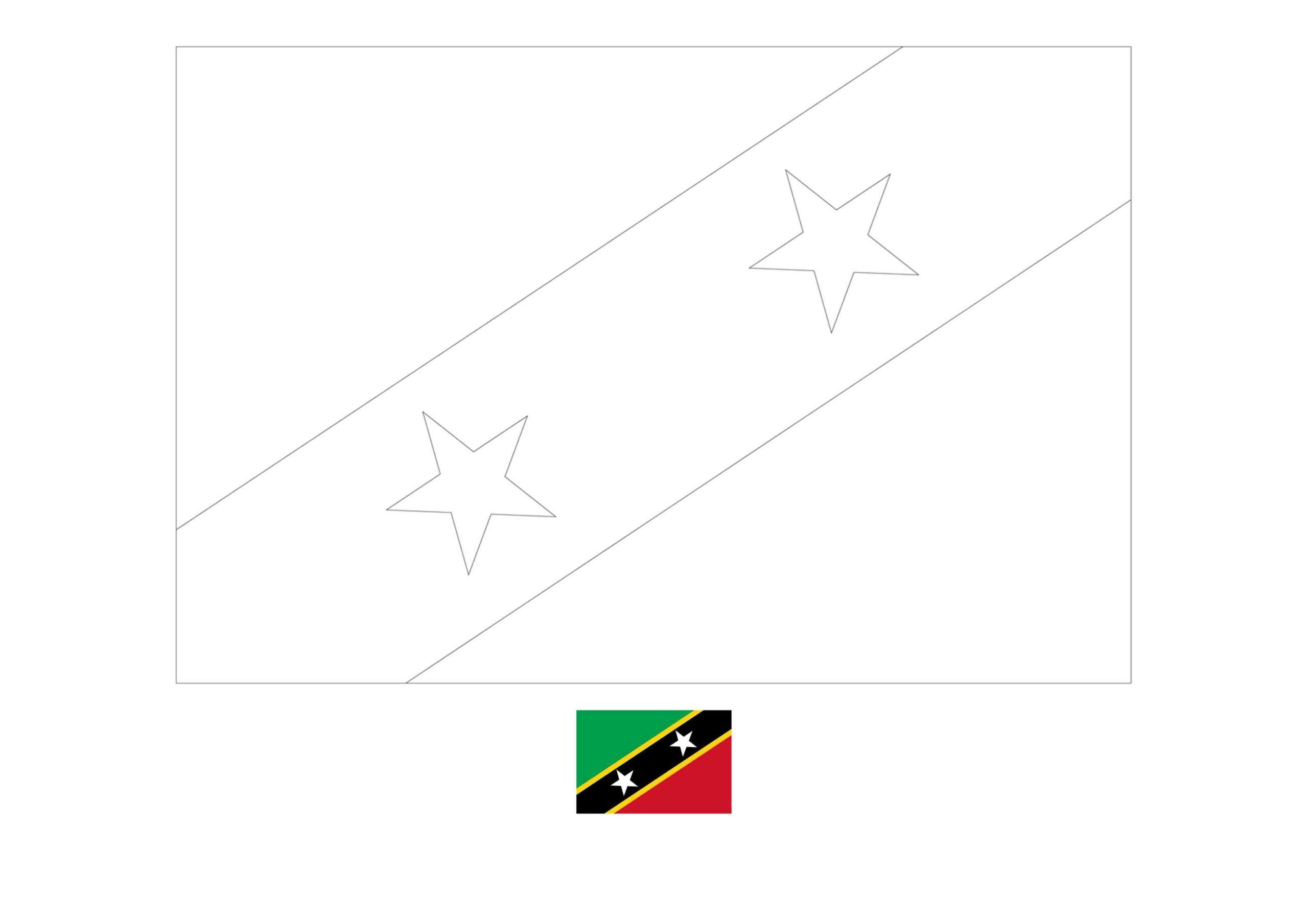 Flag Of Saint Kitts And Nevis Coloring Page Free Coloring Sheets