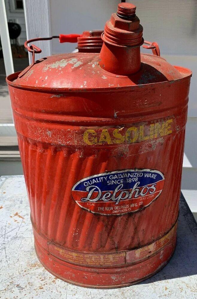 Vintage Delphos Galvanized Gas Can Red Paint 5 Gallon