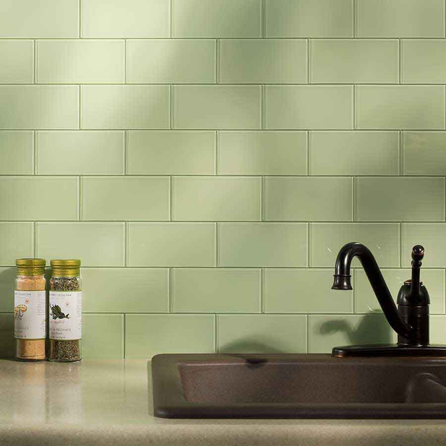 "Kitchen Backsplash Green Glass Tile aspect 3""x6"" glass backsplash tile in fresh sage 