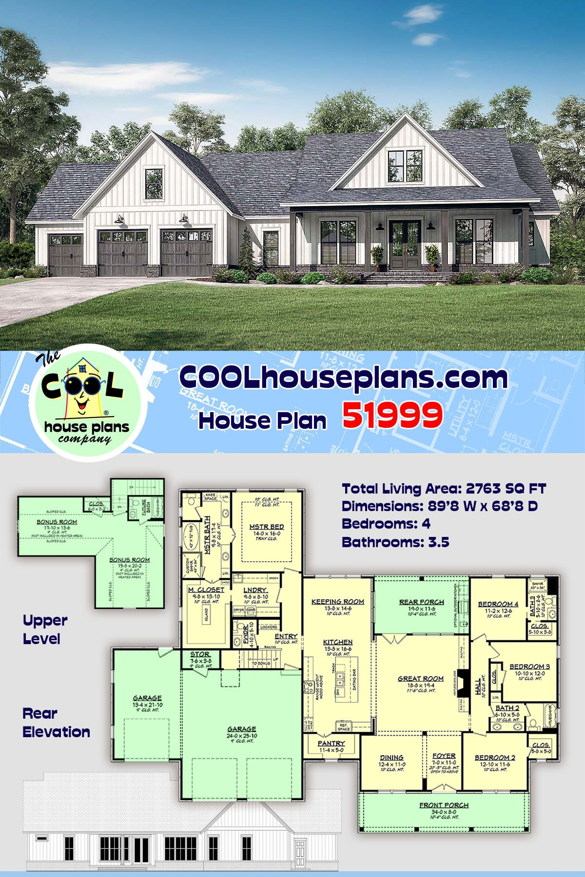 Southern Style House Plan 51999 With 4 Bed 4 Bath 3 Car Garage In 2020 Farmhouse Plans Modern Farmhouse Plans Farmhouse Style House Plans