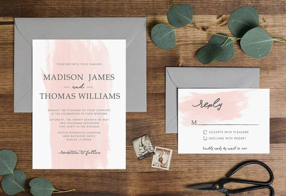 Blush Pink Watercolor Brush Stroke Wedding Invitation By Mlbandco