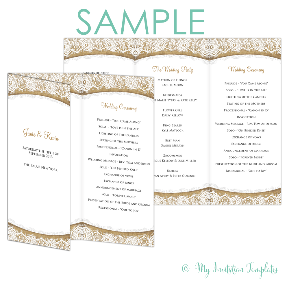 Rustic Program Template Burlap And Lace Trifold  Free Sample