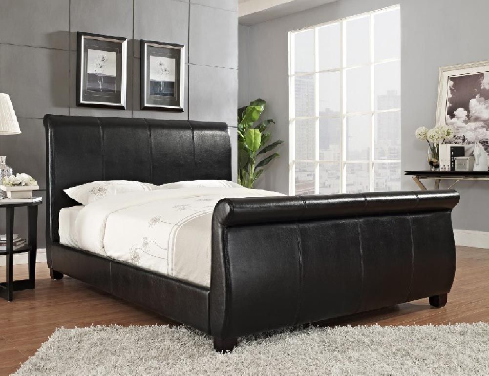 Upholstered Platform Queen Size Sleigh Bed $289.00 Espresso, With Wooden  Slats And Center Support,