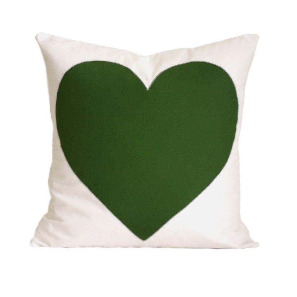 Emerald green heart pillow cover