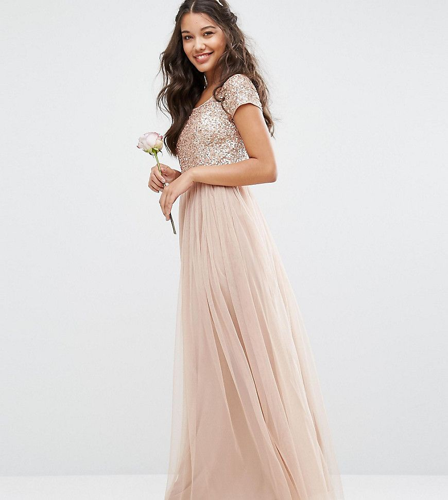 Maya Bardot Maxi Dress With Delicate Sequin And Tulle Skirt Brown