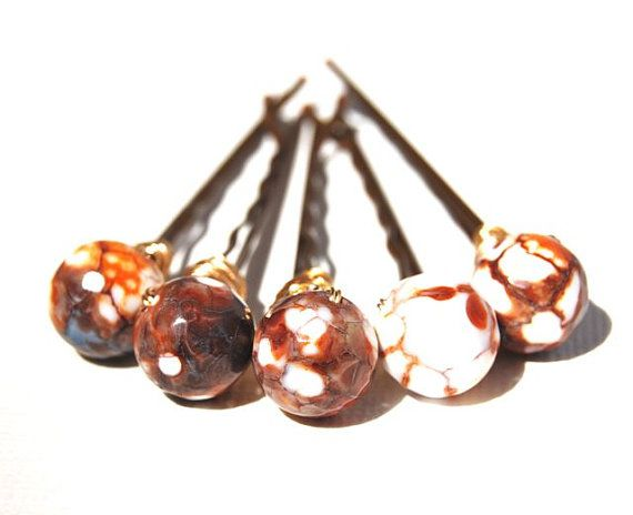 Marbled Earth Bobby Pins Wire Wrapped Modern by LoveandCherish, $14.50