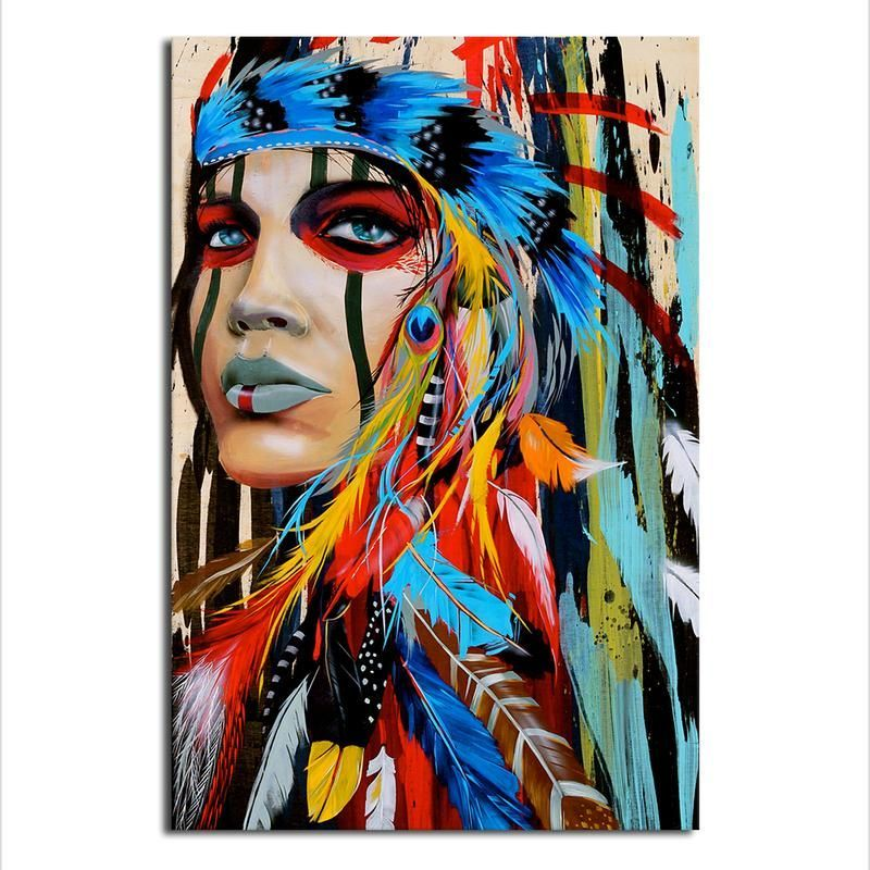Native American Woman Canvas Art Modern Wall Art Prints Canvas Painting Art